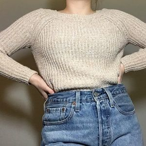 Cream Waffle Knit Sweater